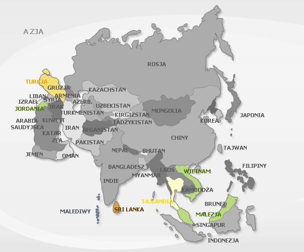 Turcja, Jordania, Sri Lanka, Tajlandia, Malezja i Wietnam
